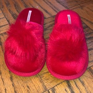 VS red pom pom slippers